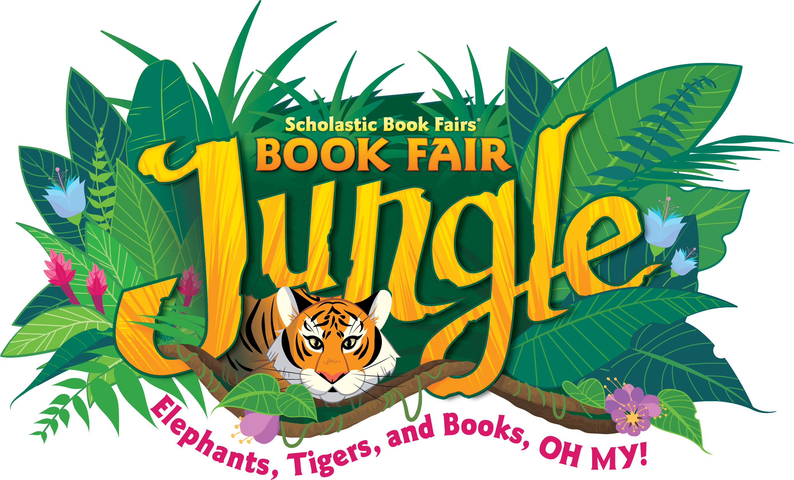 Jungle scene with tigers advertising Scholastic Book Fair