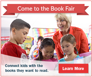 A librarian and 3 middle school students looking at books at the book fair